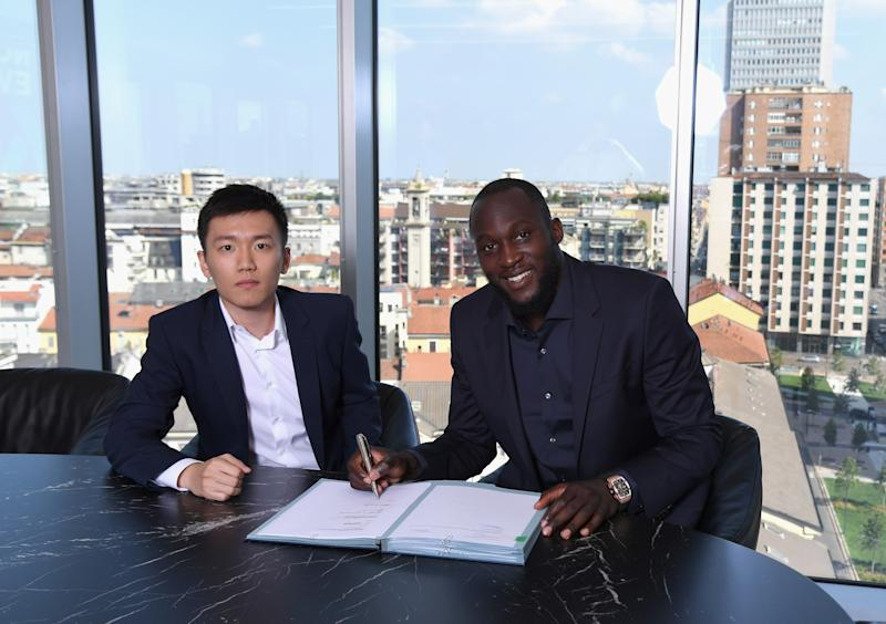 Inter Milan chairman Steven Zhang is defending fans who yelled racist chants at Romelu Lukaku, a striker on his own team. (Photo by Claudio Villa - Inter/Inter via Getty Images)