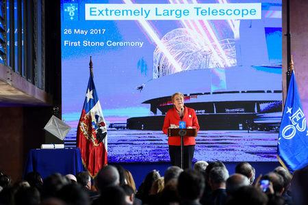 Chile's President Michelle Bachelet speaks during a ceremony to inaugurate the construction of the world's largest telescope in the desert of Atacama, Chile, May 26, 2017. Sebastian Rodriguez/Courtesy of Chilean Presidency/Handout via Reuters