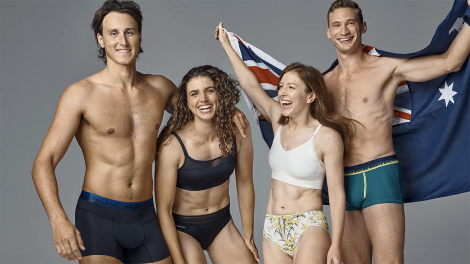 Australian Olympic and Paralympic athletes, pictured here modelling underwear from official supplier Jockey.