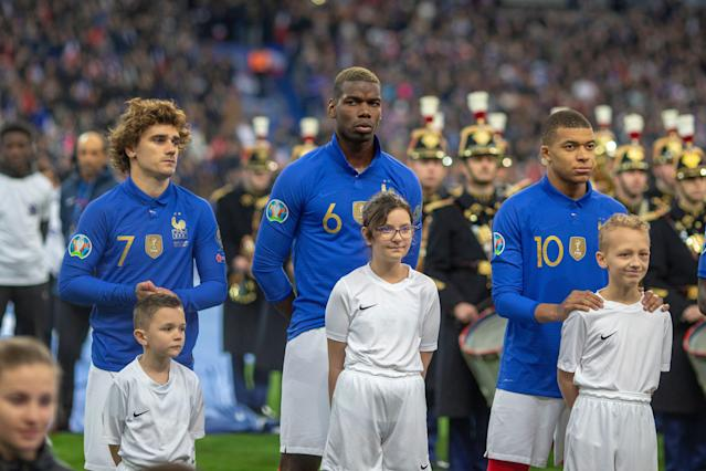 (From left to right) Antoine Griezmann, Paul Pogba and Kylian Mbappe have their sights set on Euro 2020 glory after winning last summer's World Cup. (Getty)