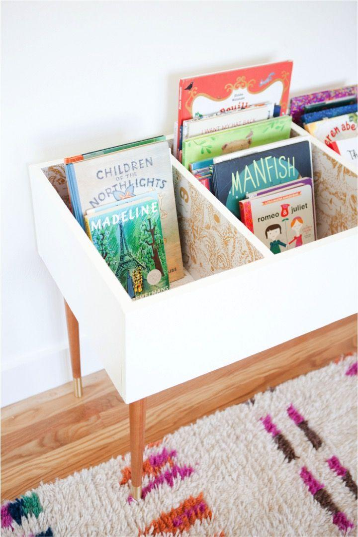 """<p>Set up a book bin like a filing cabinet with sections for books to read, books I love, and books to give away.</p><p><strong>See more at <a href=""""http://thislittlestreet.com/blog/2015/08/27/diy-kids-book-bin/"""" rel=""""nofollow noopener"""" target=""""_blank"""" data-ylk=""""slk:This Little Street"""" class=""""link rapid-noclick-resp"""">This Little Street</a>.</strong></p><p><strong><a class=""""link rapid-noclick-resp"""" href=""""https://www.amazon.com/Wallniture-Mounted-Floating-Shelves-Nursery/dp/B071X9TQQ7?tag=syn-yahoo-20&ascsubtag=%5Bartid%7C10063.g.36014277%5Bsrc%7Cyahoo-us"""" rel=""""nofollow noopener"""" target=""""_blank"""" data-ylk=""""slk:SHOP KIDS' BOOKSHELVES"""">SHOP KIDS' BOOKSHELVES</a><br></strong></p>"""