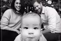 """<p>He's ready for his close-up! The Duke and Duchess of Sussex looked amused as their son, then 1 ½, <a href=""""https://people.com/royals/meghan-markle-prince-harry-christmas-card-archie/"""" rel=""""nofollow noopener"""" target=""""_blank"""" data-ylk=""""slk:crawled towards the camera"""" class=""""link rapid-noclick-resp"""">crawled towards the camera</a> in their first Christmas card as a family of three in December 2019.</p>"""