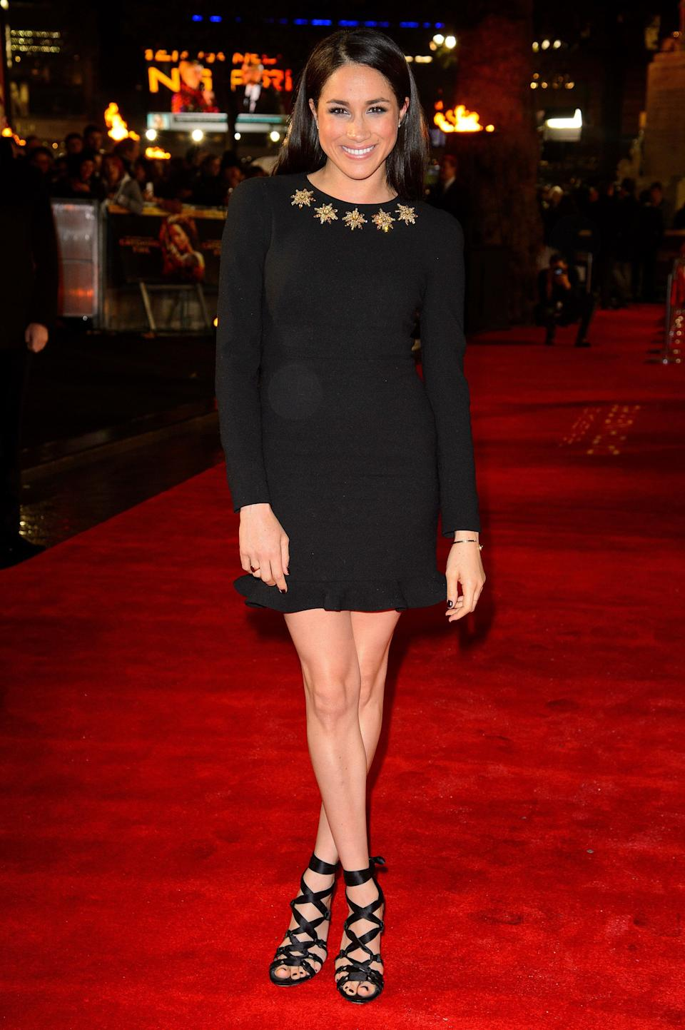 """At the U.K. Premiere of """"The Hunger Games: Catching Fire"""" at Odeon Leicester Square in London."""