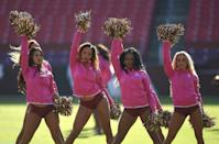 <p>Washington Redskins cheerleaders perform before an NFL football game between the Redskins and the Philadelphia Eagles, Sunday, Oct. 16, 2016, in Landover, Md. (AP Photo/Nick Wass) </p>