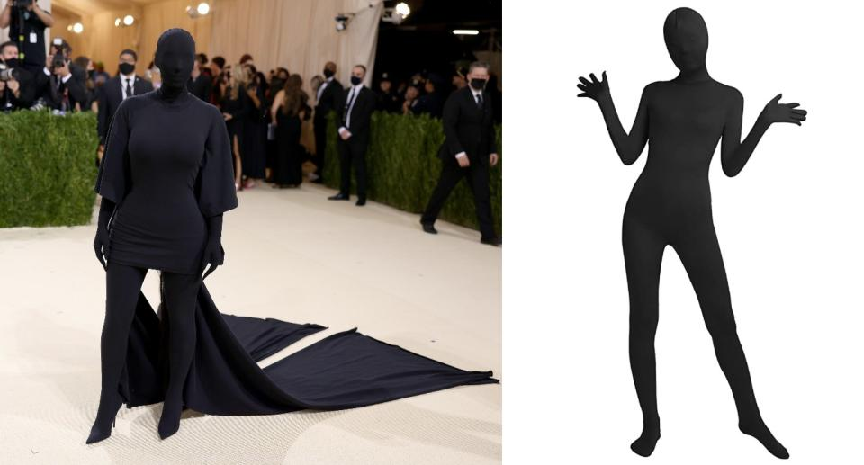 You can recreate Kim Kardashian's 2021 Met Gala outfit with the help of an all-over bodysuit (Getty/Amazon)