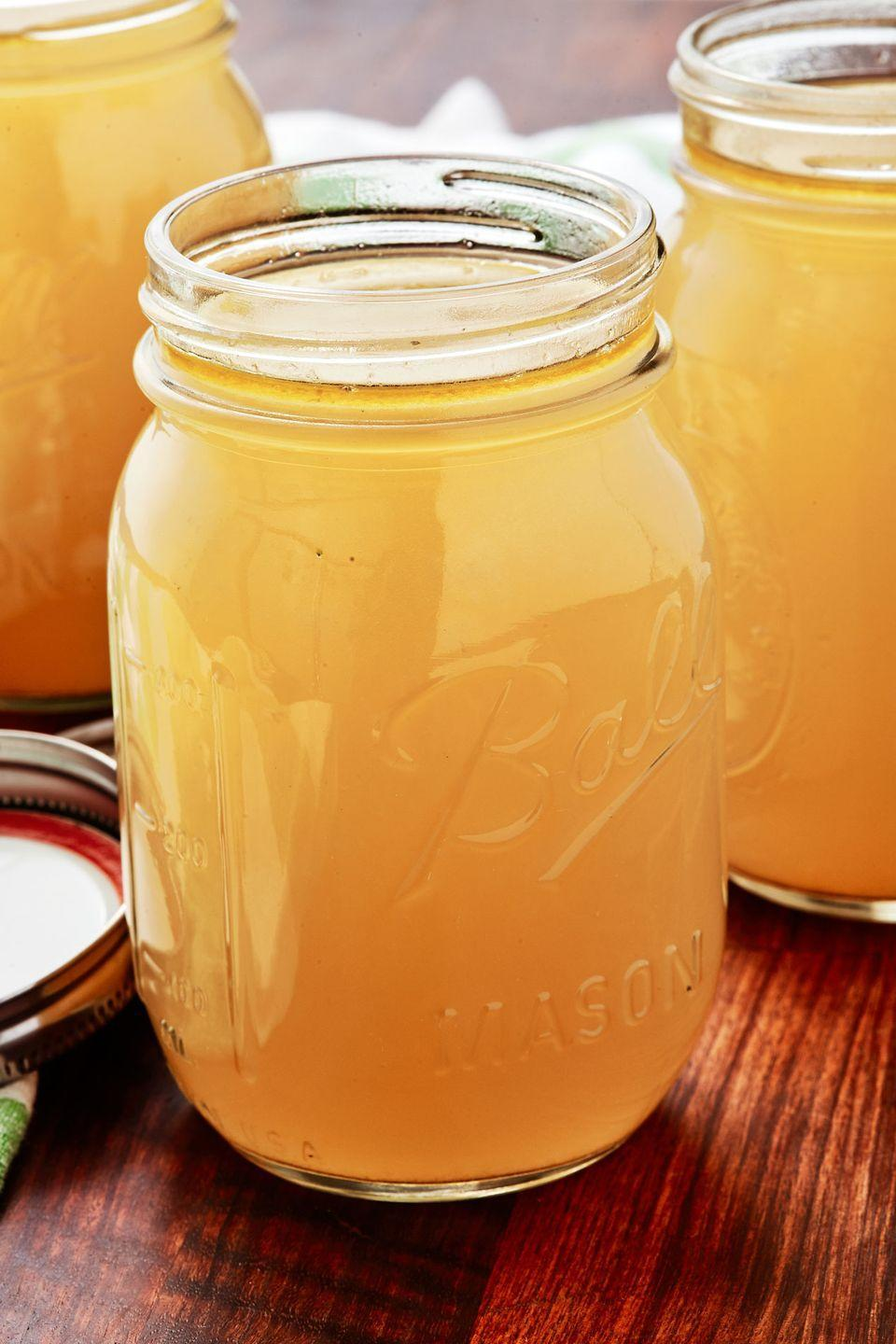 """<p>Before you throw out those bones, make yourself some turkey stock! It'll come in handy the next time you want soup.</p><p>Get the recipe from <a href=""""https://www.delish.com/holiday-recipes/thanksgiving/a29087881/homemade-turkey-stock-recipe/"""" rel=""""nofollow noopener"""" target=""""_blank"""" data-ylk=""""slk:Delish"""" class=""""link rapid-noclick-resp"""">Delish</a>.</p>"""