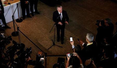 Brazil's President Michel Temer talks to the journalists during an impromptu news conference in Sao Paulo
