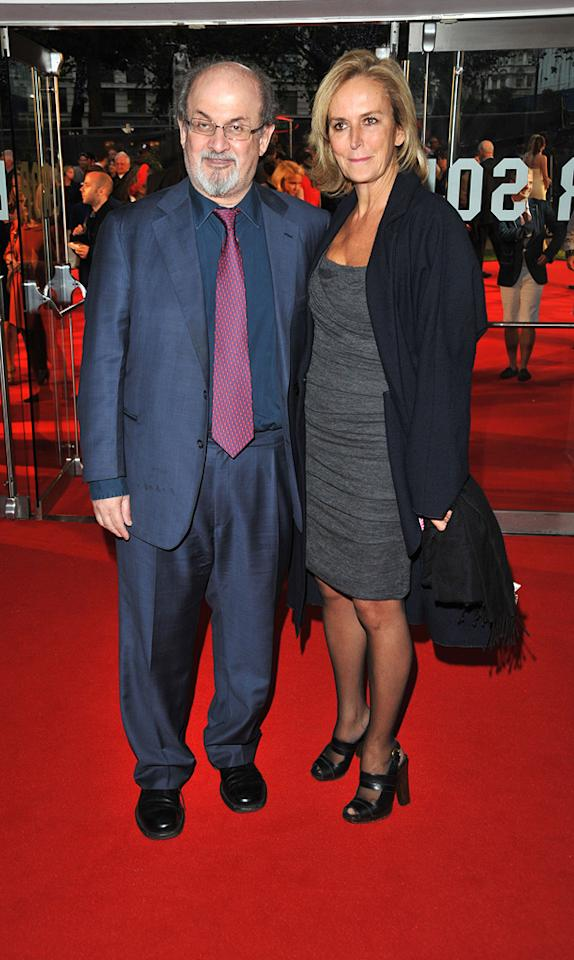 """<a href=""""http://movies.yahoo.com/movie/contributor/1804514314"""">Salman Rushdie</a> and guest at the London premiere of <a href=""""http://movies.yahoo.com/movie/1810117609/info"""">Tamara Drewe</a> - 09/06/2010"""
