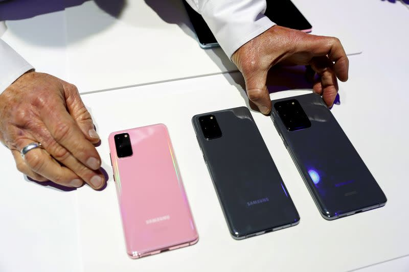 FILE PHOTO: The Samsung Galaxy S20, S20+ and S20 Ultra 5G smartphones are seen during Samsung Galaxy Unpacked 2020 in San Francisco