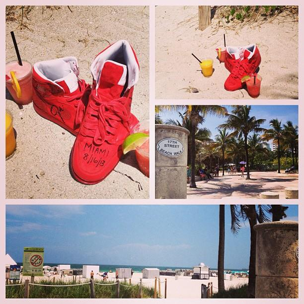 "Justin Timberlake, who performed alongside Jay Z at the Legends of Summer concert on Friday, didn't waste any time finding the beach the next morning! The ""Suit & Tie"" singer posted several snaps of Miami Beach, a pair of red sneakers, and three fruity drinks. He captioned his tropical photo, ""#Miami was hot last night!! Last #finderskeepers of #LOTS! Come get 'em! Now it's #beachtime!!"" (08/17/2013)"