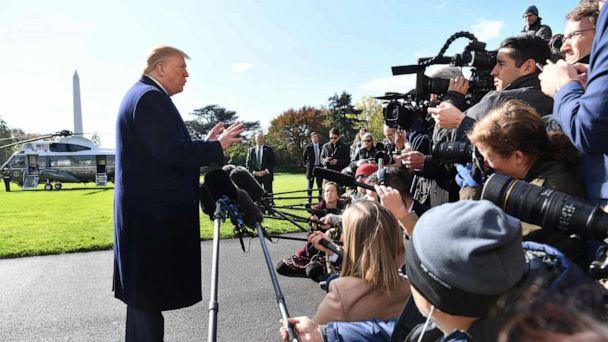 PHOTO: President Donald Trump speaks to the press before departing the White House in Washington, D.C., on Nov. 8, 2019. (Nicholas Kamm/AFP via Getty Images)