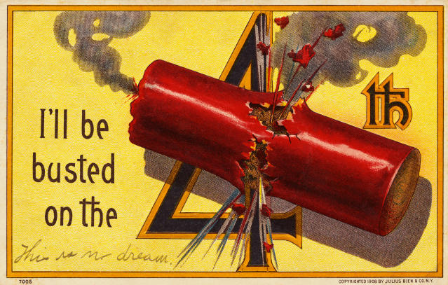 "<p>""I'll be busted on the 4th."" Vintage postcard. (Photo: Rykoff Collection/Corbis via Getty Images) </p>"