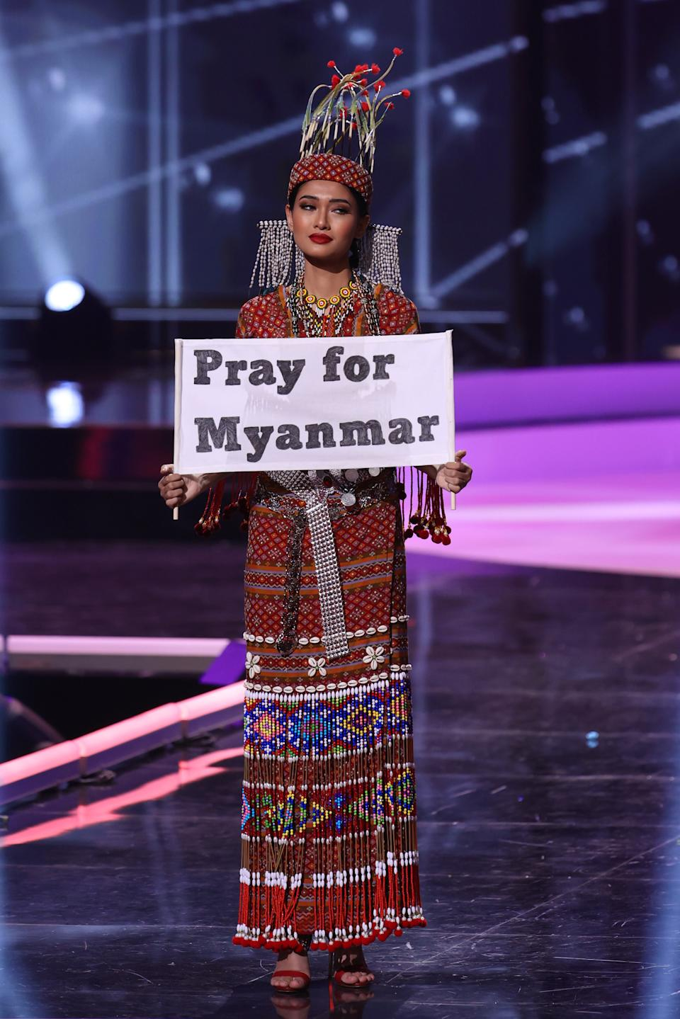 <p>Miss Myanmar Thuzar Wint Lwin appears onstage at the Miss Universe 2021 - National Costume Show at Seminole Hard Rock Hotel & Casino on May 13, 2021 in Hollywood, Florida. (Photo by Rodrigo Varela/Getty Images)</p>