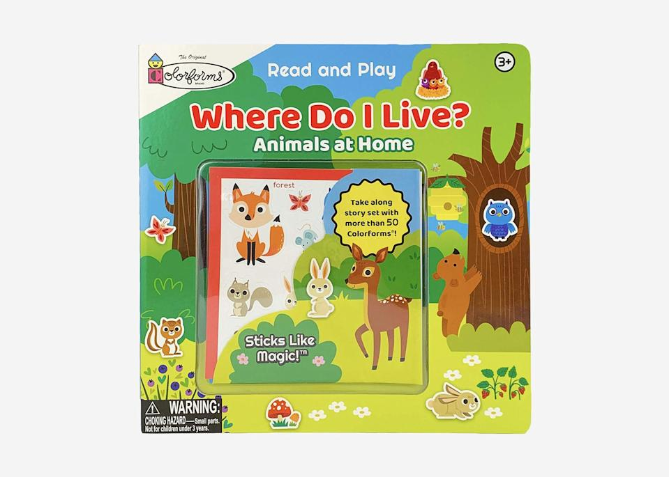 """Stick-like-magic"" Colorforms (cut-outs that cling to books without adhesives) allow your child to explore where different shapes, animals, or objects go in a scene. This book comes with more than 50 animals and wildlife pieces for toddlers to play with. $12, Amazon. <a href=""https://www.amazon.com/gp/product/1680527428/"" rel=""nofollow noopener"" target=""_blank"" data-ylk=""slk:Get it now!"" class=""link rapid-noclick-resp"">Get it now!</a>"