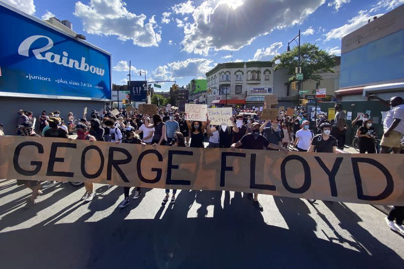 Protesters rally against the death in Minneapolis police custody of Floyd, in the Brooklyn borough of New York City