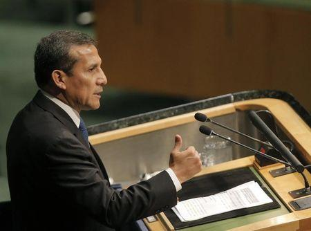 Peruvian President Ollanta Humala delivers his remarks at the Paris Agreement signing ceremony on climate change at the United Nations Headquarters in New York
