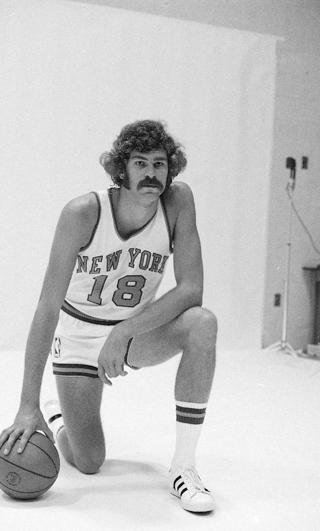 """FILE - In this 1971, file photo, New York Knicks' Phil Jackson poses for a photo. Jackson will be introduced as the newest member of the New York Knicks' front office Tuesday morning, according to a person familiar with the negotiations between the 11-time champion coach and the team. The person spoke on condition of anonymity on Friday, March 14, 2014, because the Knicks would only confirm that a """"major announcement"""" involving team executives was scheduled. (AP Photo/File)"""