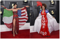 This combination photo shows Megan Pormer making a political statement against war with Iran, left, and Joy Villa wearing a dress supporting President Donald Trump at the 62nd annual Grammy Awards at the Staples Center on Sunday, Jan. 26, 2020, in Los Angeles. (Photo by Jordan Strauss/Invision/AP)