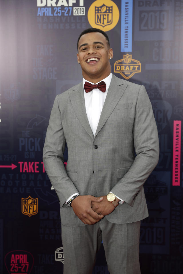 Iowa tight end Noah Fant walks the red carpet ahead of the first round at the NFL football draft, Thursday, April 25, 2019, in Nashville, Tenn. (AP Photo/Mark Humphrey)