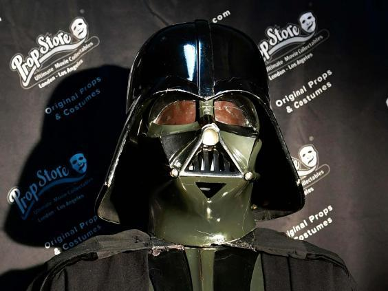 Darth Vader's costume from the 'Star Wars' promotional tour is one of 805 items up for auction (AFP via Getty Images)