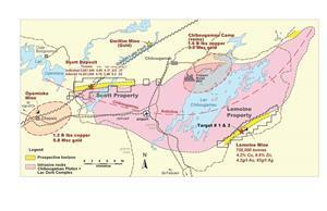 Location map of Yorbeau's projects in the Chibougamau camp, Quebec, including Lemoine property.