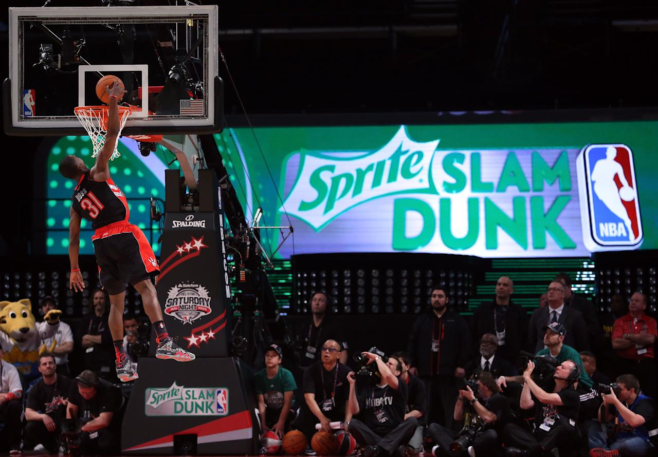 HOUSTON, TX - FEBRUARY 16: Terrence Ross of the Toronto Raptors goes up for a dunk in the first round during the Sprite Slam Dunk Contest part of 2013 NBA All-Star Weekend at the Toyota Center on February 16, 2013 in Houston, Texas. NOTE TO USER: User expressly acknowledges and agrees that, by downloading and or using this photograph, User is consenting to the terms and conditions of the Getty Images License Agreement. (Photo by Ronald Martinez/Getty Images)