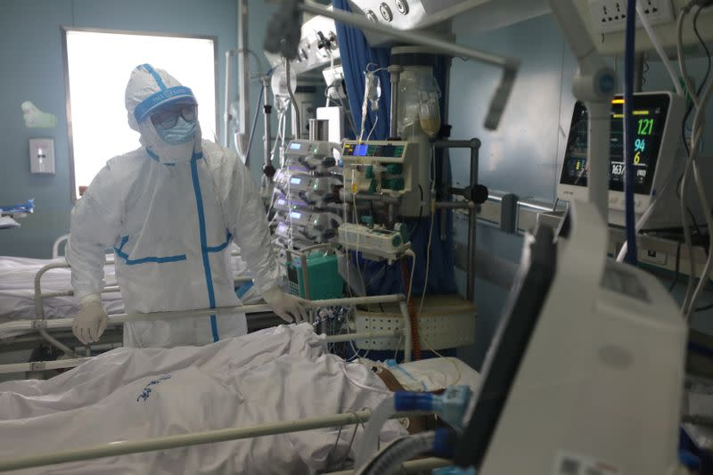 Medical worker is seen at the intensive care unit (ICU) of Jinyintan hospital in Wuhan, the epicentre of the novel coronavirus outbreak