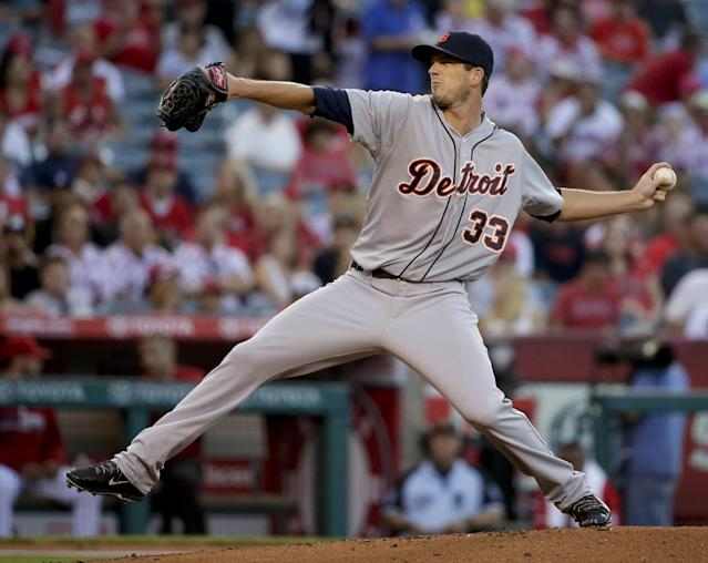 Detroit Tigers starting pitcher Drew Smyly throws to the Los Angeles Angels during the first inning of a baseball game in Anaheim, Calif., Friday, July 25, 2014. (AP Photo/Chris Carlson)