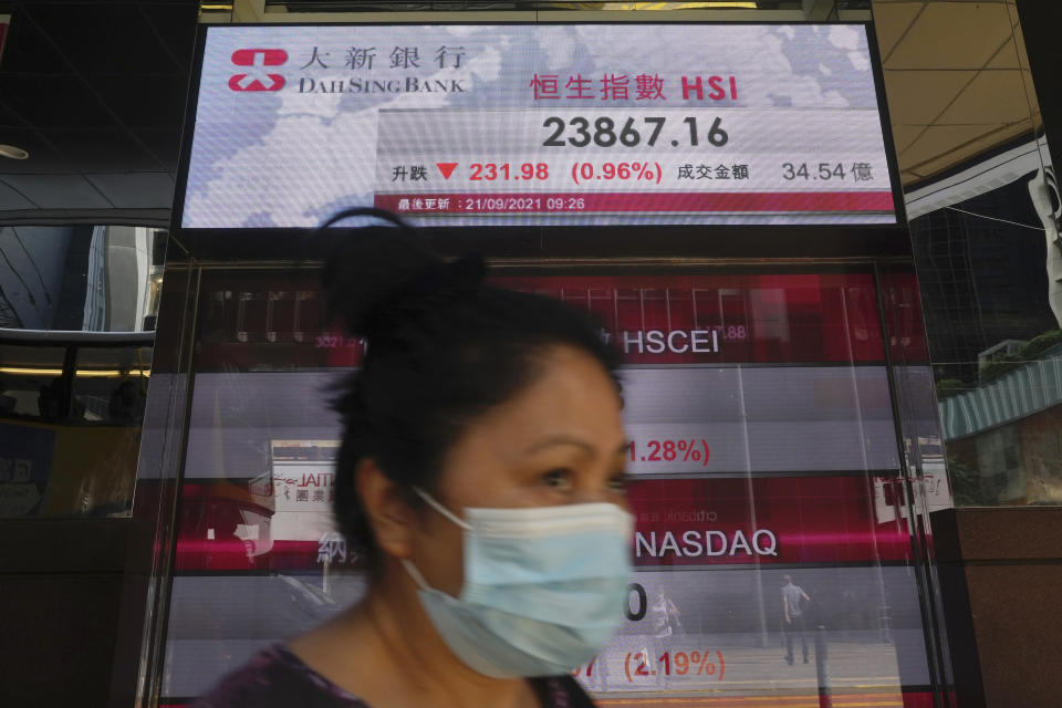 A woman walks past a bank's electronic board showing the Hong Kong share index at Hong Kong Stock Exchange in Hong Kong Tuesday, Sept. 21, 2021. Asian shares declined Tuesday, with Tokyo down 2% as worries about heavily indebted Chinese real estate developers weighed on sentiment. (AP Photo/Vincent Yu)
