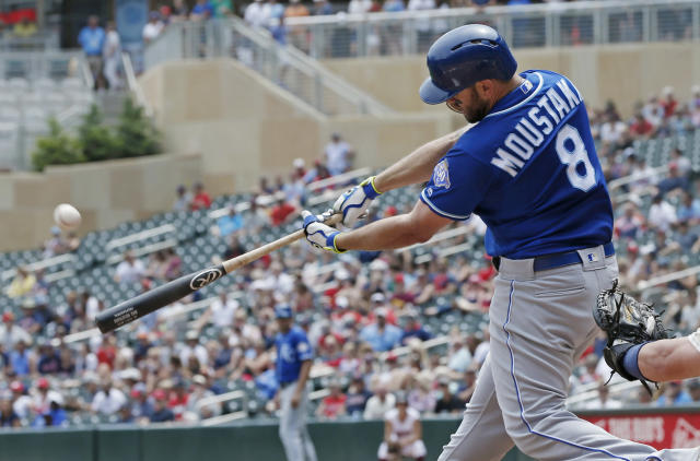 Kansas City Royals' Mike Moustakas hits a solo home run off Minnesota Twins pitcher Lance Lynn in the third inning of a baseball game Wednesday, July 11, 2018, in Minneapolis. (AP Photo/Jim Mone)