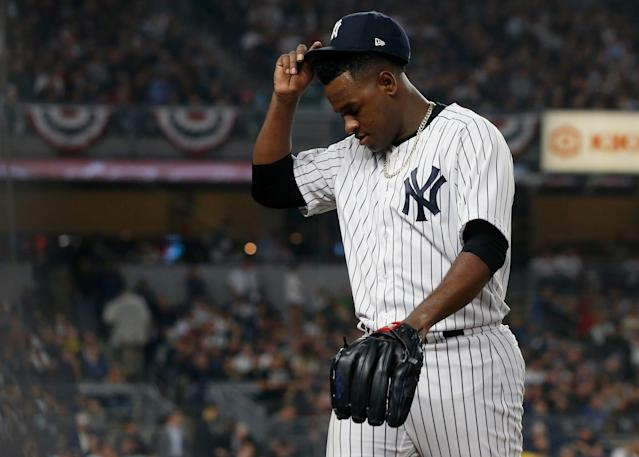 Yankees starting pitcher Luis Severino may have been helping the Red Sox Game 3 by tipping his pitches. (Photo by Jim McIsaac/Getty Images)