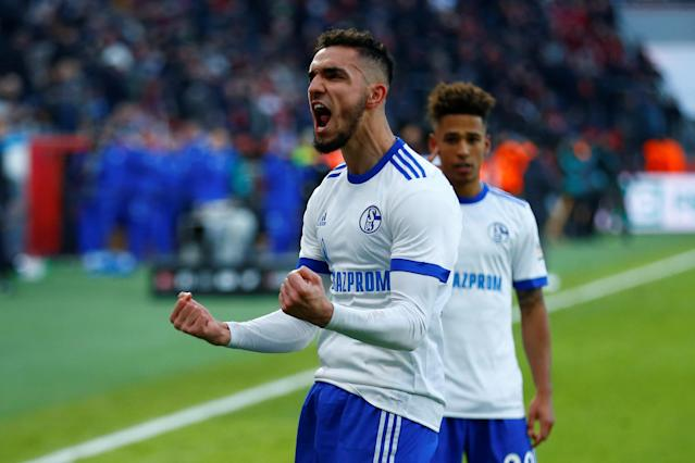Soccer Football - Bundesliga - Bayer Leverkusen vs Schalke 04 - BayArena, Leverkusen, Germany - February 25, 2018 Schalke's Nabil Bentaleb celebrates scoring their second goal from the penalty spot REUTERS/Thilo Schmuelgen DFL RULES TO LIMIT THE ONLINE USAGE DURING MATCH TIME TO 15 PICTURES PER GAME. IMAGE SEQUENCES TO SIMULATE VIDEO IS NOT ALLOWED AT ANY TIME. FOR FURTHER QUERIES PLEASE CONTACT DFL DIRECTLY AT + 49 69 650050