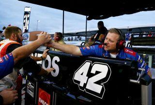 """Mike Shiplett celebrates after <a class=""""link rapid-noclick-resp"""" href=""""http://www.rotoworld.com/player/nas/567/kyle-larson"""" rel=""""nofollow noopener"""" target=""""_blank"""" data-ylk=""""slk:Kyle Larson"""">Kyle Larson</a> won the Xfinity Series race at Miami in 2015. (Photo by Sarah Crabill/Getty Images)"""