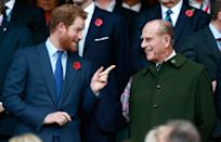 <p>Prince Harry and his grandfather share a joke at the 2015 Rugby World Cup Final match between New Zealand and Australia at Twickenham.</p>