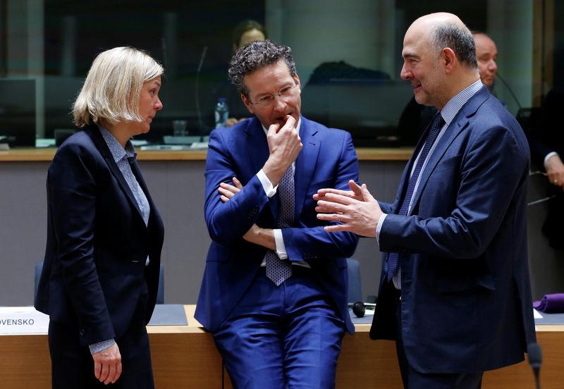Swedish Finance Minister Andersson, Eurogroup President Dijsselbloem and EU Commissioner Moscovici attend EU finance ministers meeting in Brussels