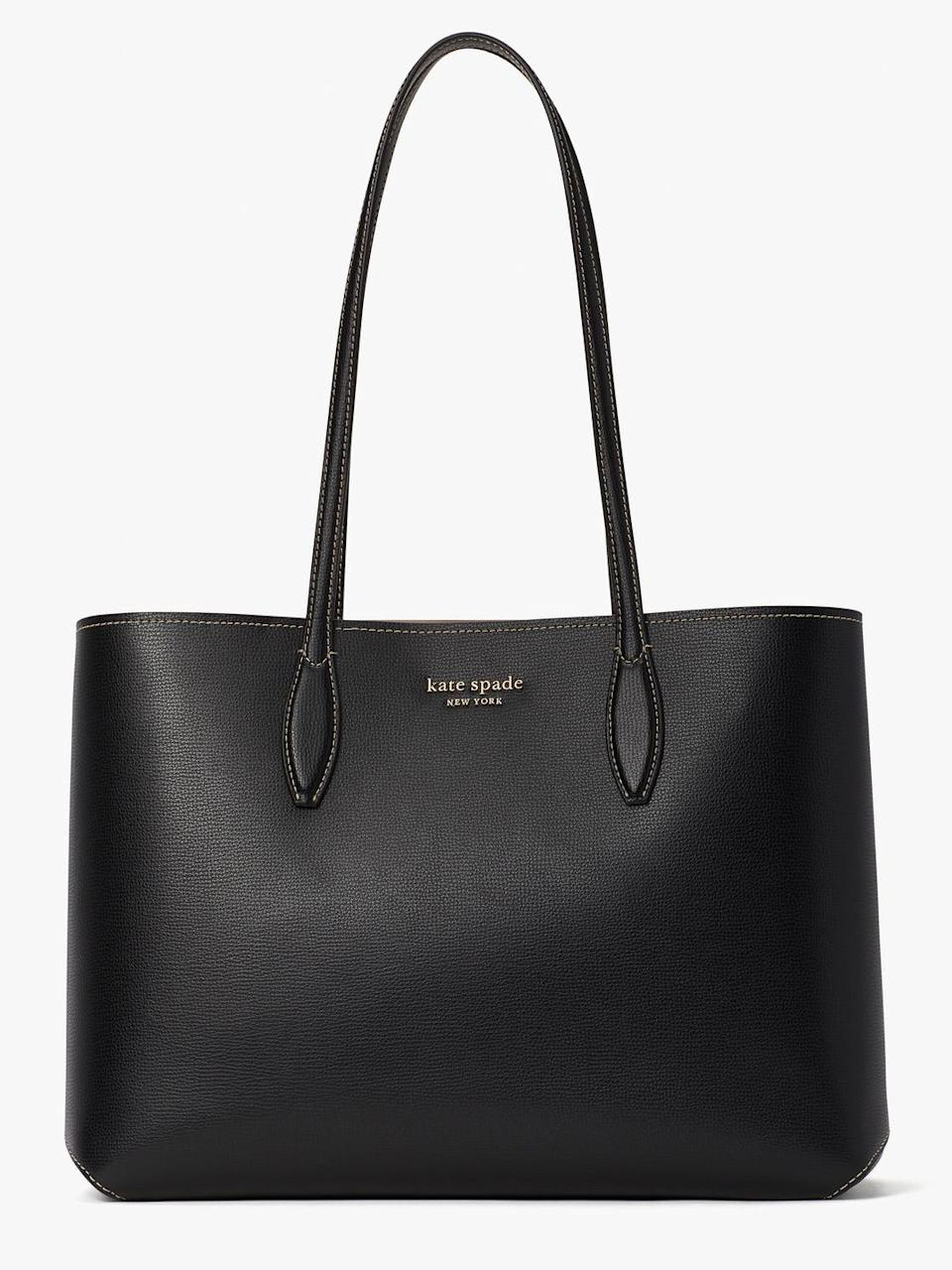 """<p><a class=""""link rapid-noclick-resp"""" href=""""https://go.redirectingat.com?id=127X1599956&url=https%3A%2F%2Fwww.katespade.co.uk%2Fen-gb%2Fhandbags%2Fall-day-large-tote%2FPXR00297.html%3Fdwcolor%3DBLACK%23q%3Dall%252Bday%26start%3D1&sref=https%3A%2F%2Fwww.harpersbazaar.com%2Fuk%2Ffashion%2Fg28897412%2Fwork-bags-women%2F"""" rel=""""nofollow noopener"""" target=""""_blank"""" data-ylk=""""slk:SHOP NOW"""">SHOP NOW</a></p><p>Sometimes the bung-it-all-in bags are the best: freeing yourself from the extra tote obligation on gym day is truly liberating. Kate Spade's shopper isn't called the All Day for nothing: it'll fit your laptop, notebooks and makeup essentials effortlessly (if you don't believe us, see it in action <a href=""""https://go.redirectingat.com?id=127X1599956&url=https%3A%2F%2Fwww.katespade.co.uk%2Fen-gb%2Fhandbags%2Fall-day-large-tote%2FPXR00297.html%3Fdwcolor%3DBLACK%23q%3Dall%252Bday%26start%3D1&sref=https%3A%2F%2Fwww.harpersbazaar.com%2Fuk%2Ffashion%2Fg28897412%2Fwork-bags-women%2F"""" rel=""""nofollow noopener"""" target=""""_blank"""" data-ylk=""""slk:here"""" class=""""link rapid-noclick-resp"""">here</a>). If the open top poses a security issue, fret not, this one comes with a detachable zip pouch so you can keep your valuables safes.</p><p>All Day large tote, £225, <a href=""""https://go.redirectingat.com?id=127X1599956&url=https%3A%2F%2Fwww.katespade.co.uk%2Fen-gb%2Fhandbags%2Fall-day-large-tote%2FPXR00297.html%3Fdwcolor%3DBLACK%23q%3Dall%252Bday%26start%3D1&sref=https%3A%2F%2Fwww.harpersbazaar.com%2Fuk%2Ffashion%2Fg28897412%2Fwork-bags-women%2F"""" rel=""""nofollow noopener"""" target=""""_blank"""" data-ylk=""""slk:Kate Spade"""" class=""""link rapid-noclick-resp"""">Kate Spade</a><br></p>"""