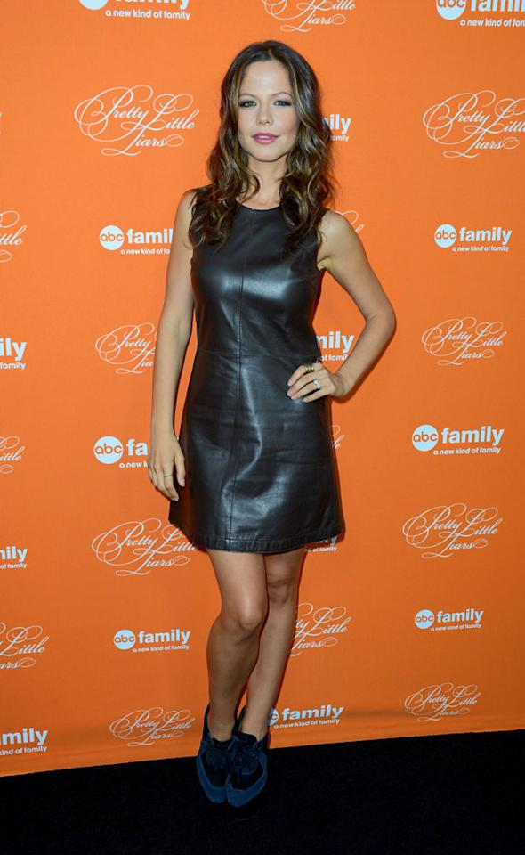 """Tammin Sursok arrives at the screening of ABC Family's """"Pretty Little Liars"""" Special Halloween Episode at Hollywood Forever Cemetery on October 16, 2012 in Hollywood, California."""