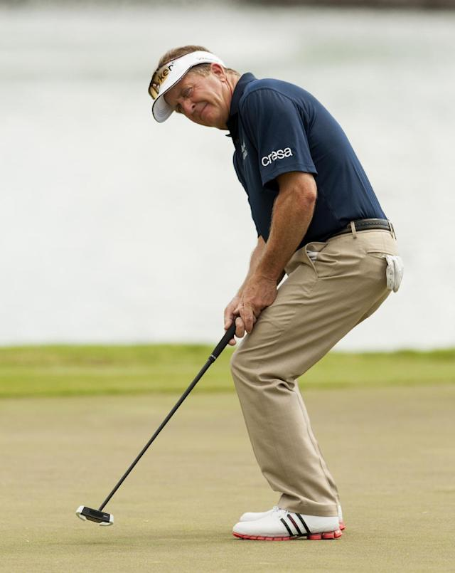 Fred Funk in action during the second round of the Sony Open golf tournament, Friday, Jan. 10, 2014, in Honolulu. (AP Photo/Marco Garcia)