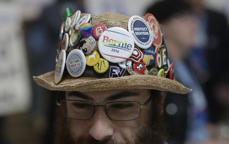 Soli Alpert poses for photos during the 2019 California Democratic Party State Organizing Convention in San Francisco, Sunday, June 2, 2019. (AP Photo/Jeff Chiu)