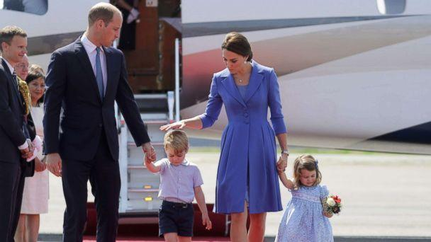 PHOTO: Prince William, the Duke of Cambridge and Catherine, The Duchess of Cambridge and their children Prince George and Princess Charlotte arrive at the Tegel airport in Berlin, July 19, 2017. (Kay Nietfeld/AFP/Getty Images, FILE )
