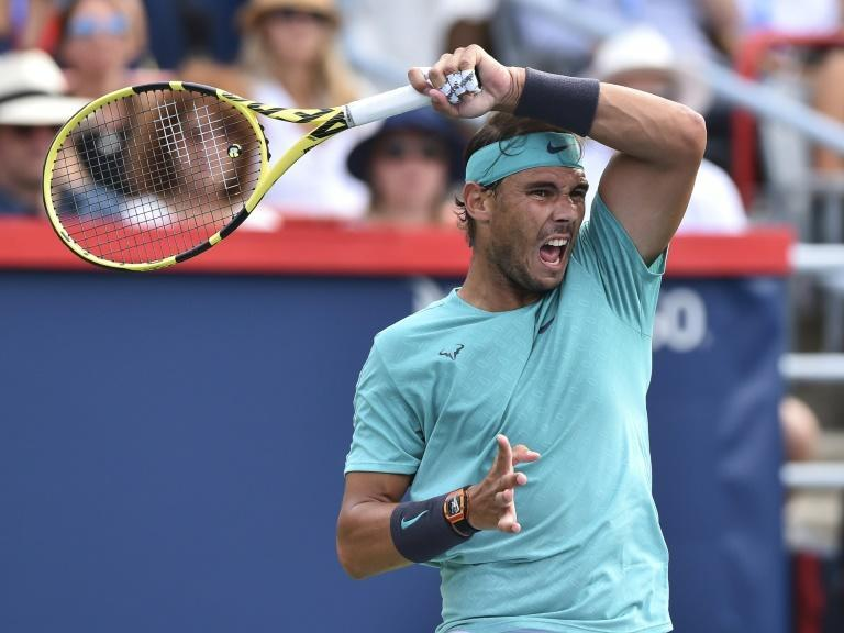 Repeat champion: Rafael Nadal on the way to a crushing 6-3, 6-0 victory over Russian Daniil Medvedev in the ATP Montreal Masters (AFP Photo/Minas Panagiotakis)