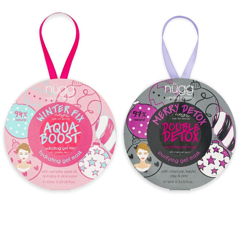 <p>The <span>Nugg Beauty Face Mask Ornament Duo</span> ($5) includes two mask treatments, one for hydrating dry skin and one for detoxing congested skin. They can use them one at a time or together for a multimasking experience.</p>