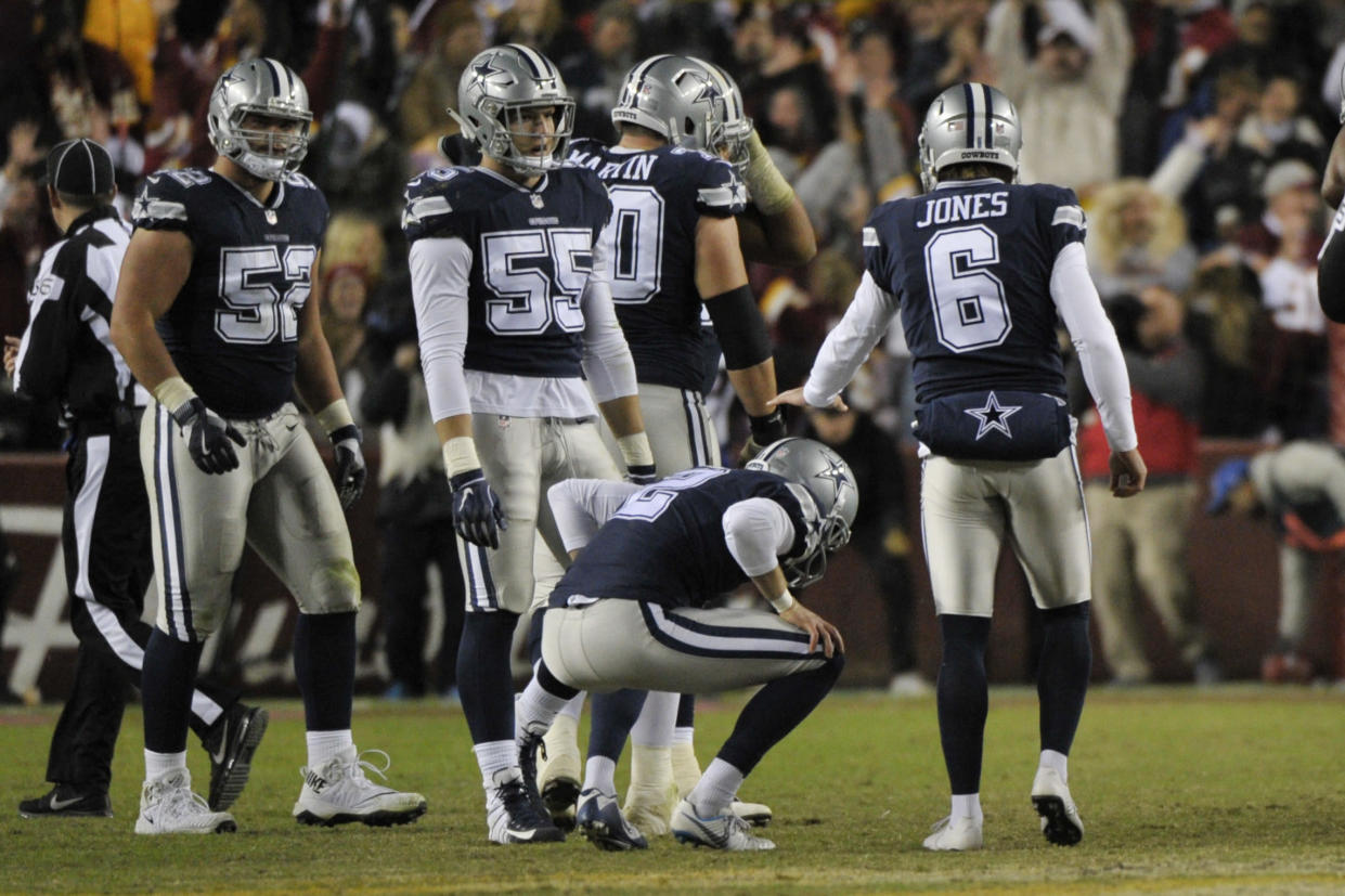 Dallas Cowboys kicker Brett Maher (2) reacts after missing a field goal Sunday, which came after a rare and costly penalty. (AP)