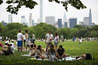 People gather in Central Park in New York with many hesitant about partying and returning to the social life they enjoyed 'before'