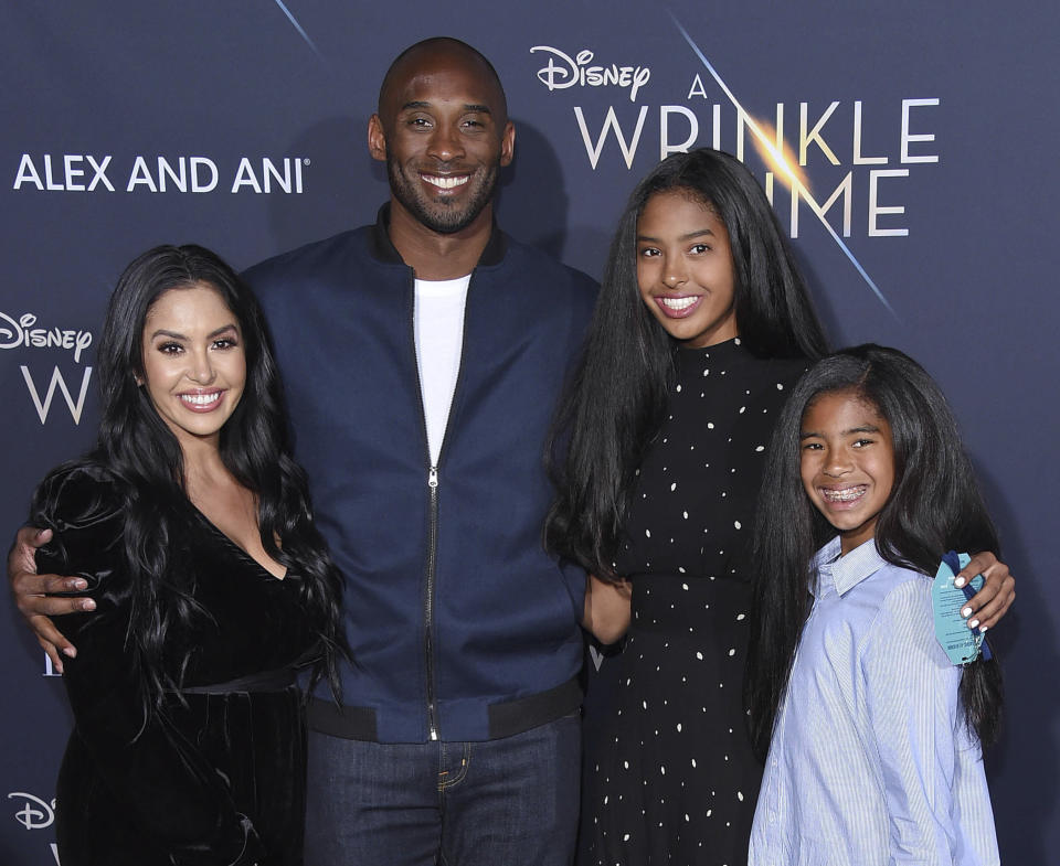 NBA legend Kobe Bryant and his wife Vanessa Laine Bryant with their daughters Gianna Maria-Onore Bryant and Natalia Diamante Bryant in this file photo from 26 February 2018. (Photo: Getty Images)