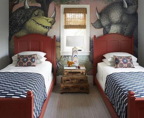 "<p>A mural inspired by Maurice Sendak's classic children's book <em>Where the Wild Things Are </em>is just one of the whimsical touches in a Long Island home designed by Rodney Lawrence.</p><p><a class=""link rapid-noclick-resp"" href=""https://www.elledecor.com/design-decorate/house-interiors/a32906036/rodney-lawrence-quogue-beach-house/"" rel=""nofollow noopener"" target=""_blank"" data-ylk=""slk:TOUR THE HOME"">TOUR THE HOME</a></p><p><a href=""https://www.instagram.com/p/CCMiegNpK_j/"" rel=""nofollow noopener"" target=""_blank"" data-ylk=""slk:See the original post on Instagram"" class=""link rapid-noclick-resp"">See the original post on Instagram</a></p>"