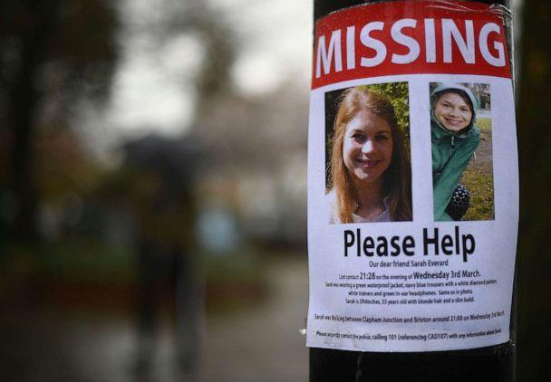 PHOTO: A missing sign outside Poynders Court on the A205 in Clapham, London Wednesday March 10, 2021 during the continuing search for Sarah Everard who has been missing for a week. (Victoria Jones/AP)