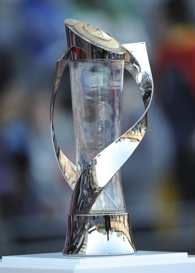 The trophy of the European Under-21 Championship is seen before the final football match between Switzerland and Spain at NRGI Park Stadium in Arhus Stadion Denmark on June 25, 2011. AFP PHOTO CLAUS FISKER/SCANPIX DANMARK 2011. (Photo credit should read CLAUS FISKER/AFP/Getty Images)