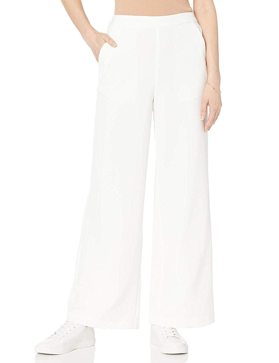"""<p>This <a href=""""https://www.popsugar.com/buy/Drop-Women-Rosa-Wide-Leg-Pull--Soft-Trouser-480603?p_name=The%20Drop%20Women%27s%20Rosa%20Wide-Leg%20Pull-On%20Soft%20Trouser&retailer=amazon.com&pid=480603&price=50&evar1=fab%3Aus&evar9=46804763&evar98=https%3A%2F%2Fwww.popsugar.com%2Ffashion%2Fphoto-gallery%2F46804763%2Fimage%2F46804835%2FBasic-Trouser&list1=shopping%2Cfall%20fashion%2Camazon%2Cfall&prop13=mobile&pdata=1"""" class=""""link rapid-noclick-resp"""" rel=""""nofollow noopener"""" target=""""_blank"""" data-ylk=""""slk:The Drop Women's Rosa Wide-Leg Pull-On Soft Trouser"""">The Drop Women's Rosa Wide-Leg Pull-On Soft Trouser</a> ($50) would look so good with a black crop top and leather jacket.</p>"""