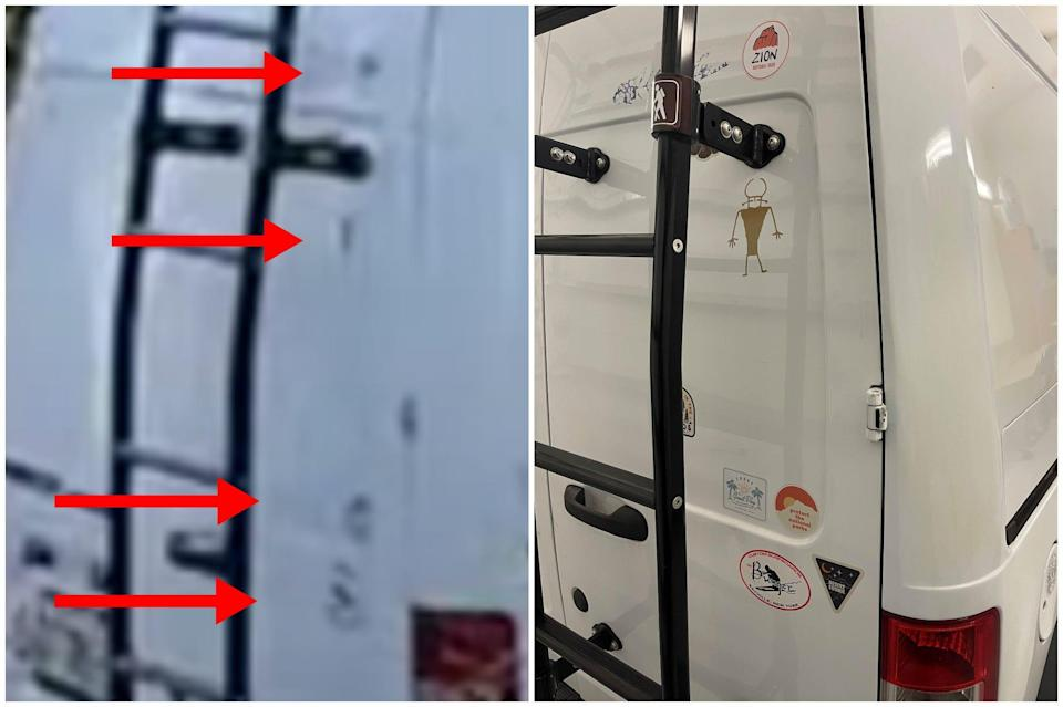 A side-by-side comparison of the rear of the white van in the Bethunes' footage and Petito's van image released by the FBI. Arrows point to locations where stickers in the Bethune footage match those on Petito's van.